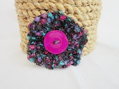 Crocheted brooch, pink, turquoise, purple £3.50