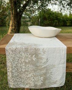 Bertozzi hand printed linen and porcelain #bertozzi #handmade #homestyling…