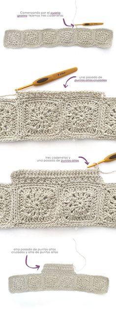 Vestido Granny Squares de Bebé combinado con Tela Cómo hacer un vestido de granny squeres de bebé combinado con tela DIY - Tutorial y Patrón Crochet Fabric, Crochet Granny, Knit Crochet, Crochet Patterns, Crochet Squares, Crochet Girls, Crochet For Kids, Granny Square Scarf, Granny Squares
