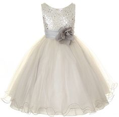 Flower Girl Dress Silver/Grey Sequin Mesh flower Girl Toddler Wedding Special Occasion Dress on Etsy, $41.57