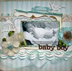 Baby Boy - Scrapbook.com - Beautiful page.  ⊱✿-✿⊰ Join 750 people and follow the Scrapbook Pages board for Scrapping inspiration ⊱✿-✿⊰