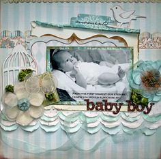 Baby Boy - Scrapbook.com - Beautiful page. #scrapbooking #layouts #baby #fancypantsdesigns #sizzix