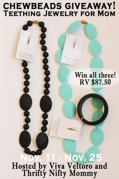 Chewbeads jewelry is so stylish, yet safe for teething babies!  We love ours!  Come enter to win 2 necklaces and a bracelet!