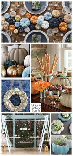 Modern Blue Pumpkin Thanksgiving Decor Ideas – in Light Blue and Navy Blue