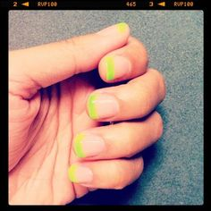 Cheering up my Monday with bright neon green nail polish from @American Apparel #aanailart