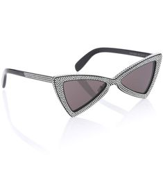 6ce89197e Black crystal-embellished sunglasses Black Crystals, Cat Eye Sunglasses,  Tuxedo, Eyewear,