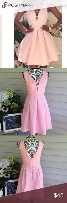 BNIP Pink Deep Cut & V Back Skater Dress (Large) . Immediately put back into the package. This pink dress is a size large and I believe it actually runs true to size. If you are unsure please ask for measurements. Super cute zipper in the back, deep V cut in the back. Deep V cut in the front. Dresses Mini
