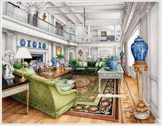 ✶ Carolyne Roehm's vision for a living room when rebuilding her home, Weatherstone, in Sharon, CONNECTICUT.