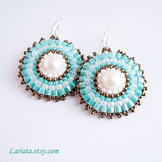 turquoise and freshwater pearl Beading Ideas, Beading Patterns, Beaded Earrings, Drop Earrings, Native American Patterns, Brick Stitch, Fresh Water, Journals, Jewelry Making
