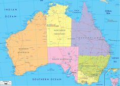 map of australia | Political Map of Australia and Australian Details Map