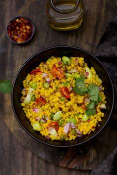 Mung Dal & Edamame Bean Salad, Sinfully Spicy