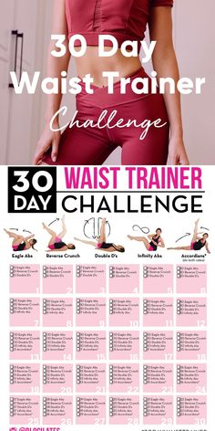 Waist Trainer Exercises - 30 Day Abs Challenge from Blogilates!