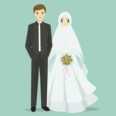 Muslim bride and groom cartoon illustration. Muslim bride and groom cartoon.Vect… Muslim bride and groom cartoon illustration. Muslim bride and groom cartoon.