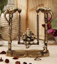 Ganesha on Peacock Jhula. Home Decor Accessories, Decorative Accessories, Decorative Items, Ethnic Home Decor, Indian Home Decor, Ganpati Decoration Theme, Home Temple, Pooja Room Design, Indian Interiors