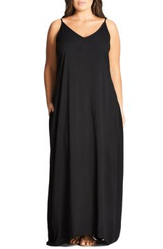 City Chic V-Neck Maxi Dress (Plus Size) available at #Nordstrom