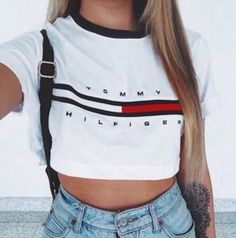 top white fashion style crop tops crop tommy hilfiger summer casual beautifulhalo