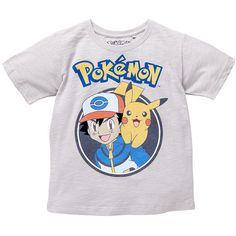 Pokemon Tee Soft Grey ($6.13) ❤ liked on Polyvore featuring tops, t-shirts, shirts, t shirts, gray t shirt, print shirts, tee-shirt, gray tees and pattern tees