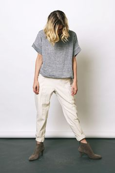 Stripe Georgia Tee Boxy woven T with relaxed pocket pants.