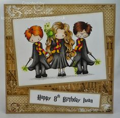 A Harry Potter themed card using Tiddly Inks digi stamps, coloured with Copics