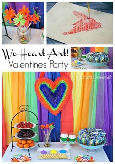 """""""We Heart Art"""" Valentines Party: A fun, simple party plan with DIY party decor, easy snacks, and all ages art project! http://www.3littlegreenwoods.com"""