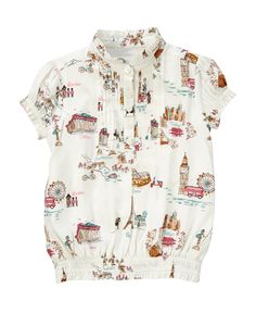 She's ready to see the world in our stylish top made from soft challis. Fun vintage-inspired print features vignettes from London, Paris, Tokyo, Amsterdam and Athens.