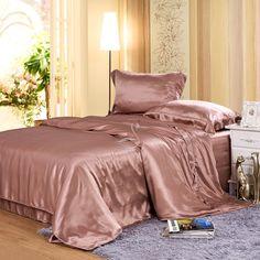 Dusty Rose 5pcs Silk Duvet Cover Bedding Set Hand