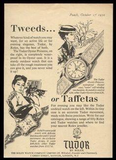 1956 Rolex Tudor Oyster Princess vintage UK print ad. #tudor #rolex #sportswear #formal #ladies #cocktailwatch #tweeds #taffetas #watch #watches #vintage #ads #stawc Vintage Rolex, Vintage Ads, Vintage Watches, Vintage Images, Watch Drawing, Art Deco Watch, Rolex Tudor, Watch Ad, Modern Watches