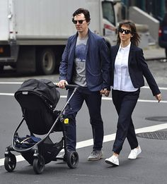 Benedict Cumberbatch with son Christopher, and wife spotted walking through the streets of Tribeca, NYC on 25th March 2016