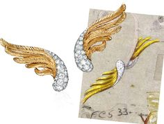 'Wings' earclips by Verdura, circa 1950. Celebrate your wedding with jewels from Renaissance Fine Jewelry in Vermont or www.vermontjewel.com