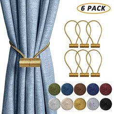 Dclysi 6 Pack Magnetic Curtain Tiebacks 16 Inch Decorative Curtain