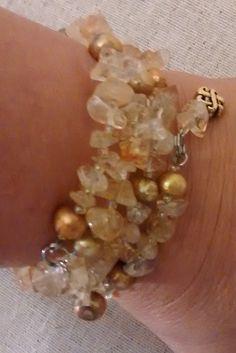 Citrino y pulsera de alambre memoria perla agua dulce