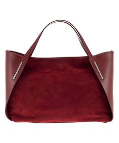 Suede-Block Leather Shoulder Bag