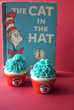 My Thing 1 Thing 2 Cupcakes have been spotted on here, Cool! Dr Seuss Party Ideas, Dr Seuss Birthday Party, First Birthday Parties, Boy Birthday, Birthday Ideas, Happy Birthday, Dr Seuss Cupcakes, Cute Cupcakes, Birthday Cupcakes