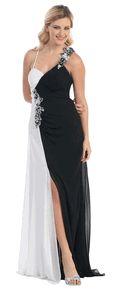 #2587NOX-- Two Tone White/Black Prom Dress Satin Beaded Halter Slit Leg Long Formal Gown