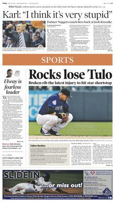 Friday, June 14, 2013 Denver Post sports cover.