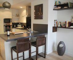 Cuisine en u ouverte avec retour snack meuble de cuisine for Comptoir separation cuisine salon