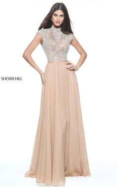 Nude 51083 Sherri Hill 2017 High Neck Metallic Cutout Back Prom Dresses