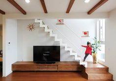 「リビング階段 テレビ」の画像検索結果 Exterior Design, Interior And Exterior, Loft Apartment Decorating, Modern Tv Cabinet, Room Partition Designs, House Stairs, Tiny House Design, Cozy House, Diy Home Decor