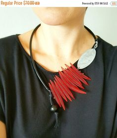 Fabulous statement necklace, made of black rubber pvc tube, pvc mesh tubing and aluminum. The main detail is made of aluminum sheet, which I cut, ground and polished. Very lightweight. A must have accessory to jazz up your wardrobe. Handmade in Croatia.  Length : 63cm / 24.8 in  Package will be shipped out as soon as I possibly can which is usually 1-2 days after the purchase. ▲ FREE GIFT WITH EVERY ORDER…
