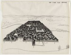 Spatial City, project, Aerial perspective Yona Friedman