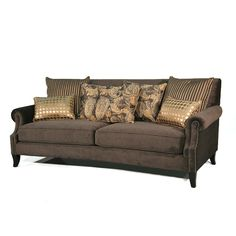 This plush sofa features brown microfiber upholstery, nailhead trim and decorative accent pillows for a stylish and fun masterpiece. Geatures hardwood construction. espresso finish and rolled arms. Sofa includes two (2) striped brown/gold accent pillows, two (2) brown/yellow/gold paisley accent pillows and two (2) gold circles accent pillows. Gold Accent Pillows, Indian Home Decor, Settee, Nailhead Trim, Hollywood Regency, Sofa Furniture, Contemporary Furniture, Circles, Espresso