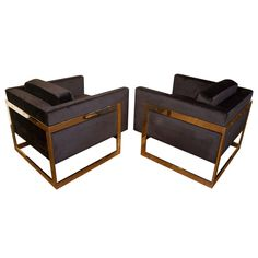 """Pair of Brass """"Cube"""" Chairs by Milo Baughman  for brass patrician (17201)"""