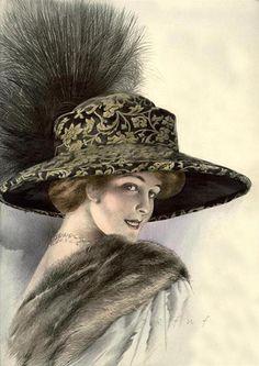 """Интересное и забытое - быт и курьезы прошлых эпох. - Дамские шляпки сто лет назад и идеал красоты. Альбом шляп """"Парижский шик """"."""