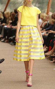 Striped circular skirt by CARLA ZAMPATTI Preorder Now on Moda Operandi