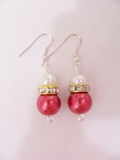 Red and white pearl Christmas earrings by SparkleandComfort, $8.50