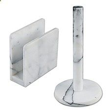 image of Artisanal Kitchen Supply™ Marble Paper Towel Holder in White