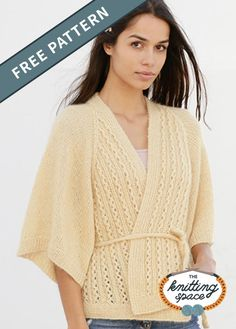 Freshen your vibe with this knitted wrap-around lace jacket with 3/4 sleeves and raglan. Craft it using the same light yellow color or choose from any other shades you prefer. | Discover over 4,000 free knitting patterns at theknittingspace.com #knitpatternsfree  #summerknits #summerknittingproject #summerknittingpatterns #fallknittingprojects #fallknittingpatterns #homemadegift #giftideas Fall Knitting Patterns, Knitting Charts, Lace Knitting, Lace Jacket, Knit Jacket, Summer Knitting Projects, Kimono Design, Knitted Poncho, Sweater Cardigan