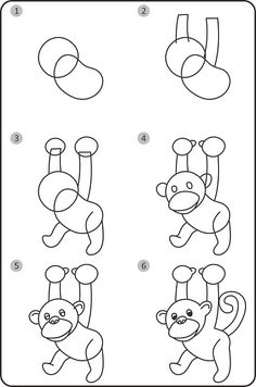 How do you draw a monkey step by step step by step monkey drawing step by Monkey Drawing Easy, Easy Drawing Steps, Step By Step Drawing, Easy Drawings, Pencil Drawings, Step Kids, Step Children, Drawing Lessons, Drawing Ideas
