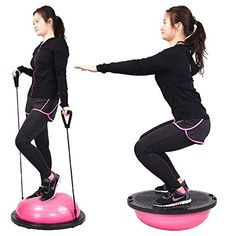 AMPERSAND SHOPS Balance Trainer Half Ball Yoga Fitness Exercise Workout Pink >>> Visit the image link more details. Balance Trainer, At Home Gym, Resistance Bands, Resistance Workout, Exercise Balls, Fitness Exercises, Yoga Workouts, Yoga Exercises, Stretches