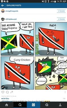 Jamaica and Trinidad looking for Guyana lol Caribbean Flags, Caribbean Culture, Best Memes, Funny Memes, Indian Jokes, All The Things Meme, West Indian, Funny Posts, Trinidad And Tobago